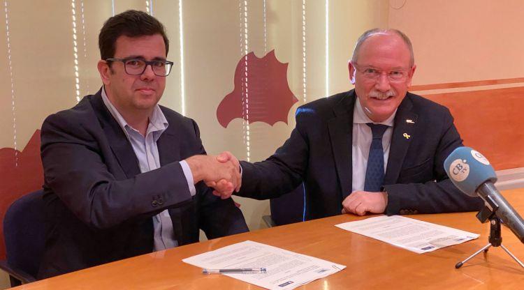 El president del Consell Comarcal del Baix Empordà, Joan Manel Loureiro, i el gerent territorial de Girona de Sorea, Andreu Masferrer