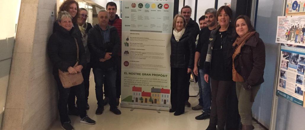 Alcaldes del Ter Brugent han visitat Riudellots per conèixer el sistema porta a porta de recollida de residus. Foto: CC Selva