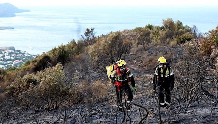 Bombers durant l'extinció de l'incendi d'aquest cap de setmana a Llançà. Font: El País/article.