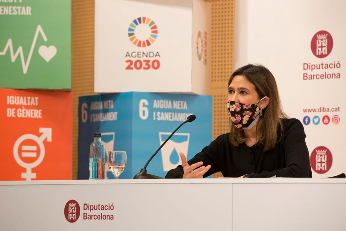 Núria Parlon, a la presentació de la Guia pràctica per elaborar l'Agenda 2030 Local i de les eines per fomentar la participació ciutadana.